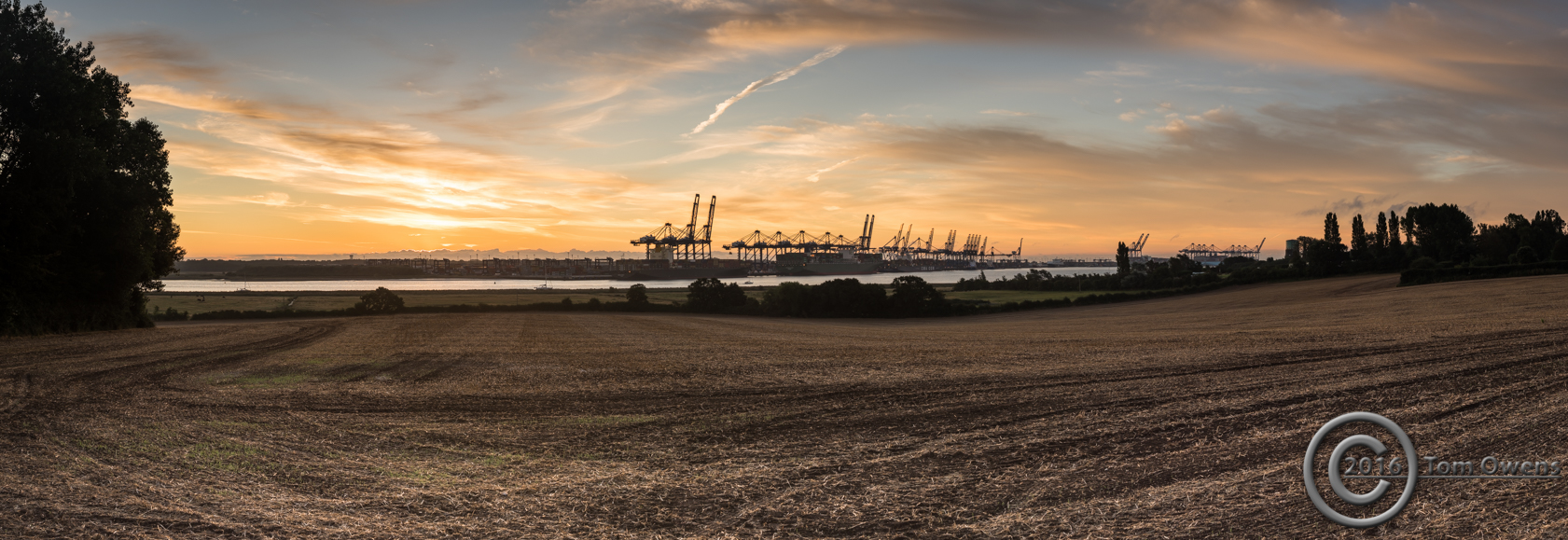 Felixstowe docks at dawn